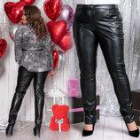 Женские стильные брюки на бархате в батальных размерах 220-1 Кожа Кармашки