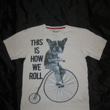10-12 лет, хлопковая футболка с мопсом от Primark