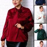 Роскошная шелковая блуза для женщин с крупными формами 48-60р