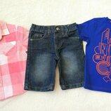 Big sale Комплект набор рубашка, футболка и джинсовые шорты на 2-4 года