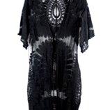 черные и белые гипюровые пляжные туники с вышивкой
