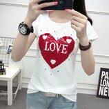 Женская футболка с двусторонними пайетками. Самые модные женские футболки