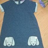 Трикотажное платье под джинс 4-5 лет