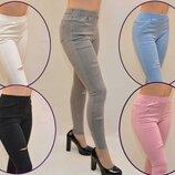 Горячая Расспродажа Коттоновые Джинсы женские цветные рваные с необработанным низом