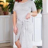 Платье повседневное XL вискоза Турция полоска синяя белая серая