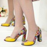 Туфли Vesba, натуральная кожа, эксклюзивные, желтые - цветные