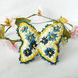 заколка для волос бабочка заколка для девочки бабочка вышитая лентами