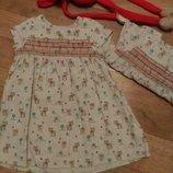 Платья Next, 9-12 мес для девочек близняшек, для двойни Некст летний сарафан