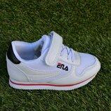 Детские кроссовки на липучке Fila фила белые 26-31