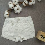Шорты для девочки 6-12 мес шортики белые шорты