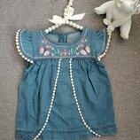 Джинсовое платье для малышки 1-3 мес платье для девочки летнее
