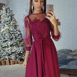 Платье миди с верхом из сетки с кружевом. Разные цвета
