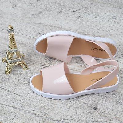 Босоножки женские силиконовые сандалии Madolini розовые с белым