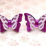 Бантики из экокожи с бабочками