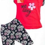 Летний костюм с цветочками для девочки 6 месяцев- 24 месяца Турция