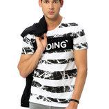 Мужская футболка белая Lc Waikiki / Лс Вайкики в мраморную полоску Hiding
