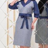 Платье повседневное XL турецкий лён синий полоска