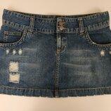 Стильная джинсовая юбка с потертостями и дырками от New Look