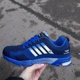 Мужские кроссовки копия adidas синие 41-46 сетка