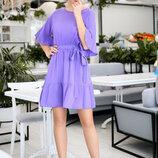 Лёгкое летнее короткое платье до больших размеров 1593 Штапель Воланы в расцветках.
