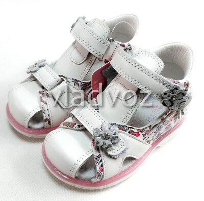 Детские босоножки сандалии сандали для девочек кожаные белые tom.m 26 4105