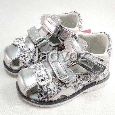 Детские босоножки сандалии сандали для девочек кожаные серебристые tom.m 21-26 4106