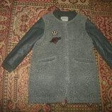 пальто модное с еко. кож.Bombre Style