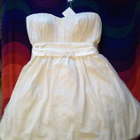 Платье подружке невесты белое фирмы m&s р.14 новое с бирками