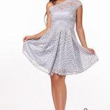Стильное женское вечернее выпускное платье гипюр, стрейч-атлас