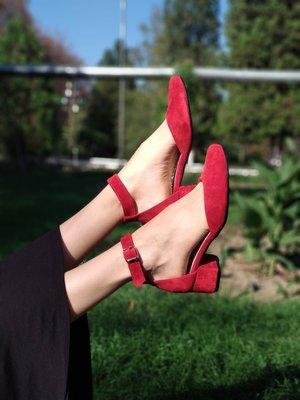 Туфли из натуральной кожи замши на толстом каблуке 6см