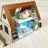 Крашенный Кукольный Домик для LOL Сельский Домик с мебелью и светом