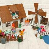 Крашеный Кукольный Домик Для LOL Сельский Домик С Мельницей, Мебелью И Светом