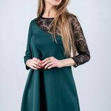 Нарядное молодежное платье с гипюровым рукавом, р. 44-52 цвета