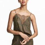 блуза-майка / топ с кружевом h&m цвет хаки кружево невероятной красоты