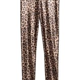 брюки лосины h&m леопард с металлик блеском