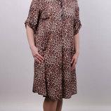Гарна сукня-сорочка великих розмірів. Розміри 50-52, 54-56, 58-60, 62-64 Матеріал софт принт Дов