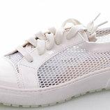 Супер Мода Супер Стильная Модель Белые- Пудра- Синие туфли Мокасины Сетка-Лак Турция
