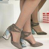 Туфли, натуральная замша, с перекрестными ремешками, серые