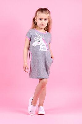 Платье летнее Единорог, рост 92 - 140