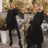 Черное пальто- кардиган на запах под пояс без подклада