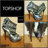 открытые туфли на каблуке от Topshop, оригинал , кожа , Бразилия, р. 37