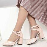 Туфли, натуральная кожа, с перекрестными ремешками, пудра