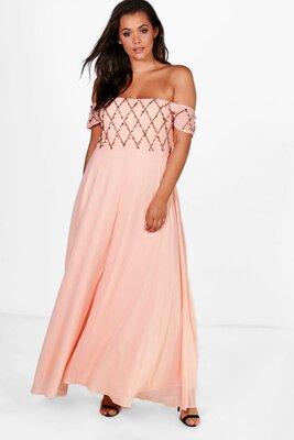 09011d40a9a Нежное персиковое вечернее выпускное шифоновое платье макси открытые плечи  boohoo