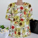Брендовая блуза с коротким рукавом canda c&a принт цветы большой размер этикетка UK 20