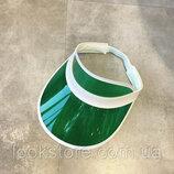 Женский летний прозрачный козырек зеленый