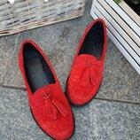 394 Слипоны натуральная замша красные
