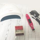 Стартовый набор для мастера маникюра Универсальный фрезер- ручка Лампа Sun One 48 Вт LED UV набор11