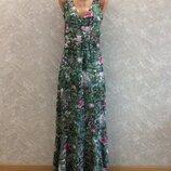 Платье сарафан миди с воланом в тропический принт размер 6-8 h&m