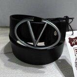 Кожаный чорный ремень в стиле Louis Vuitton, Луи Виттон, унисекс