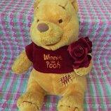 Игрушка мягкая медведь мишка Винни Пух с букетом цветов, рост 25см